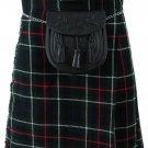 Formal & Everyday Celtic Highland Kilt Waist 56 Size Kilt Mackenzie Tartan / Plaid 5 Yard 13 Oz.