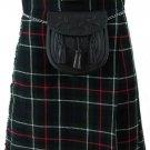Formal & Everyday Celtic Highland Kilt Waist 60 Size Kilt Mackenzie Tartan / Plaid 5 Yard 13 Oz.