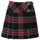 "Ladies Short Length Skirt 37"" Waist Tartan Pleated Kilt Black Stewart Mini Billie Kilt Mod Skirt"