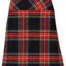"""Ladies Knee Length Dress Skirt 34"""" Waist Leather Straps Kilt Black Stewart Mini Billie Kilt Skirt"""