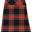 """Ladies Knee Length Dress Skirt 48"""" Waist Leather Straps Kilt Black Stewart Mini Billie Kilt Skirt"""