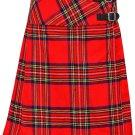"""Ladies Knee Length Dress Skirt Royal Stewart Mini Billie Kilt Skirt 34"""" Waist Leather Straps Kilt"""