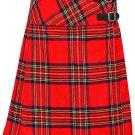 """Ladies Knee Length Dress Skirt Royal Stewart Mini Billie Kilt Skirt 49"""" Waist Leather Straps Kilt"""
