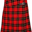 """Wallace Mini Billie Kilt Skirt 46"""" Waist Size Leather Straps Kilt Ladies Knee Length Dress Skirt"""
