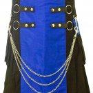 "Handmade Two Toned 52"" Waist Size Black & Blue Hybrid Utility Kilt with Cargo Pockets & Chains"