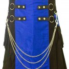 "Handmade Two Toned 54"" Waist Size Black & Blue Hybrid Utility Kilt with Cargo Pockets & Chains"