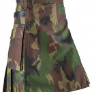 "Men's Custom Size Woodland Camouflage Tactical Army kilt 56"" Waist Size Deluxe Utility Cotton kilt"