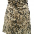 "Men's Custom Size US ACU Camouflage Tactical Army kilt 28"" Waist Size Deluxe Utility Cotton kilt"