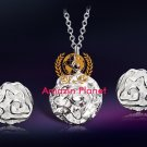 Silver Plated White Copper Rose Shaped Necklace & Earrings Set M.