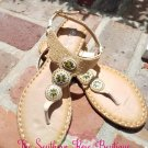 GOLD BEADED FLAT THONG SANDAL WITH PLUSH SOLE BY FOREVER LINK