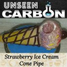Strawberry Ice Cream Cone Shaped Hand-made Collectible Glass Pipe