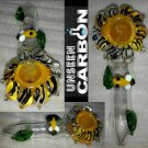 Sunflower with Bee Shaped Hand-made Collectible Glass Pipe