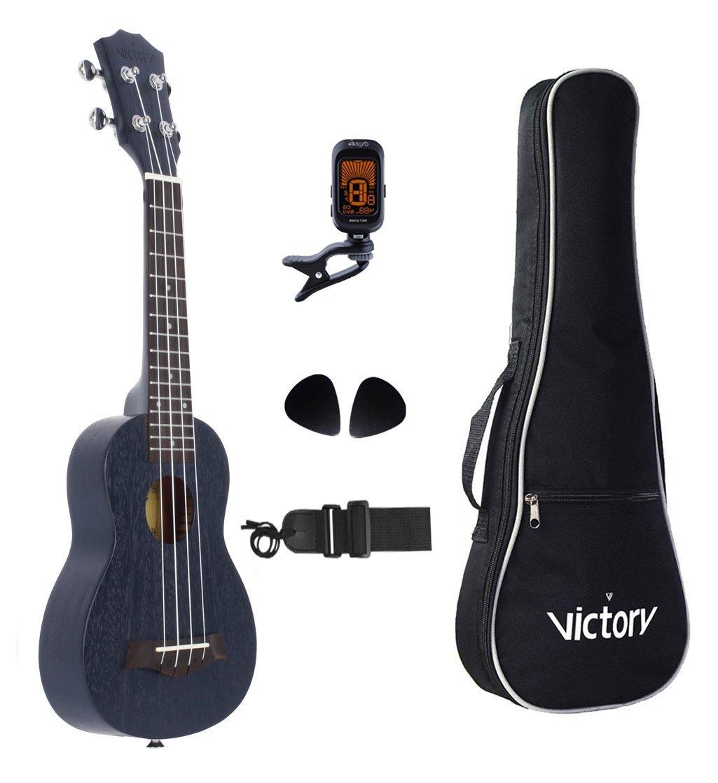 VIVICTORY Soprano Ukulele 21 black Mahogany Aquila String Beginner Kit