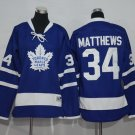 2016 Kids Toronto Maple Leafs 34 Auston Matthews Woman Ice Hockey Blue Jersey