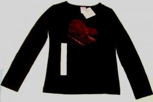 GIRLS TEE SHIRT - S (6/6x), BLACK with HEART, NWT