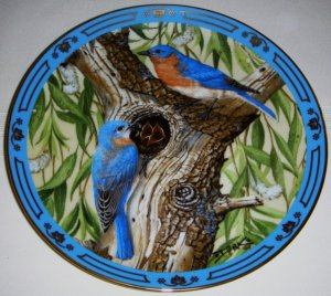 COLLECTORS PLATE - DANBURY MINT - WINGED TREASURES, BLUEBIRD