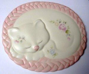 PFALTZGRAFF TEA ROSE TRIVET WALL PLAQUE - SLEEPING CAT ON RUG
