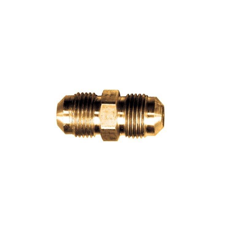 SAE 45 Degree Male Flare Straight Union Coupling 3/4 Tube OD MFL x 1/2 Tube OD M