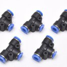 5 pcs Tee Push to Connect 1/4 OD to 5/32 OD 3 Side Reducer T Fitting Union Air