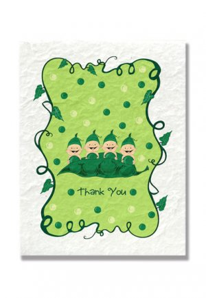"""""""Four Peas in a Pod"""" Quadruplets Baby Shower Thank You Cards"""