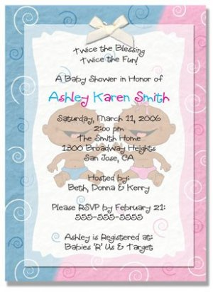 """""""Twin Babies"""" Twin Baby Shower Invitation - Personalized Invitations (Blue, Pink, or Both)"""