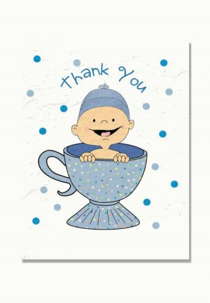 """""""Baby is Brewing"""" Baby Shower Thank You Cards (Blue, Pink, or Purple)"""