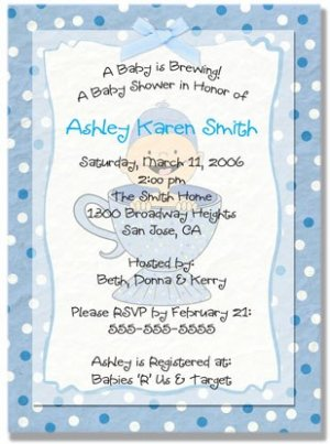 """""""Baby is Brewing"""" Baby Shower Invitation - Personalized Invitations (Blue, Pink, or Purple)"""