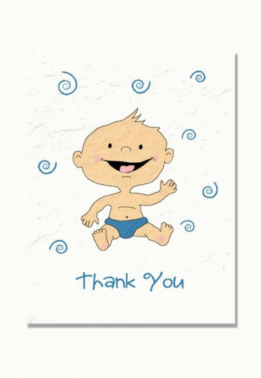 """""""New Baby"""" Baby Shower Thank You Cards"""