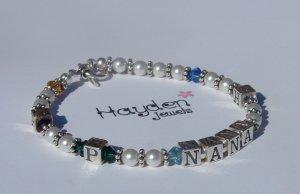 Nana Custom Name Bracelet w/ Birthstones and Initials