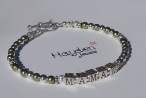 Mamaw Nana Grandma Mom MotherSterling Silver and Green Swarovski Crystal Pearl Bracelet