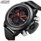 Jedir 47mm Chronograph White  Black silicone Navy quartz Watch Sapphire Crystal