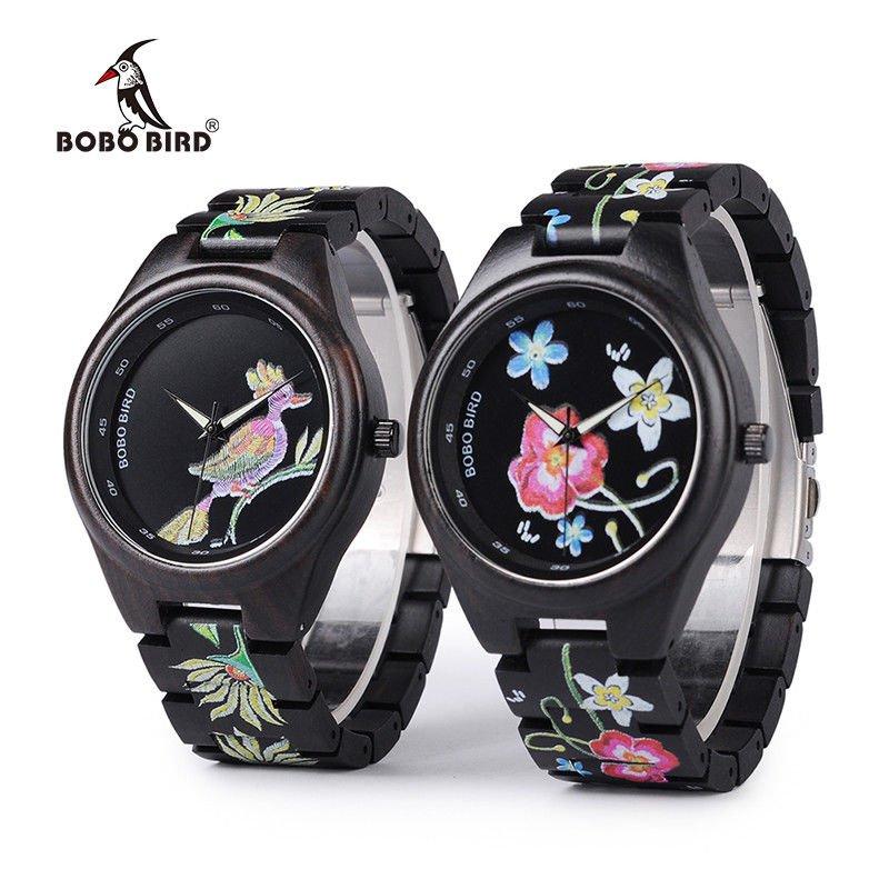 BOBO BIRD Colorful Print Wood Watch Women Embroidery Flowers Daisies Daisy