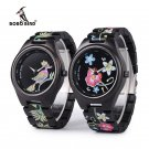 BOBO BIRD Colorful Print Wood Watch Women Embroidery Flowers Daisies Daisy