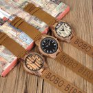 BOBO BIRD Classic Zebra Wooden Watch Quartz Genuine Leather Strap