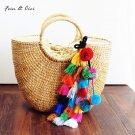 Handmade Beach natural Straw Bag Tote Bucket Summer Tassels Handbag Braided