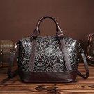 Unique Genuine Soft Leather Handbag Vintage Coffee Royal Embossed Pattern