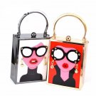 Retro 'Lady With Glasses' Evening Clutch Bag Cute Party HandBag Hard Case Paint