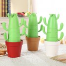 4 pieces set Stackable Cactus Plant Mugs for Coffee Tea With Spoons
