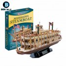 142pcs Mississippi Steamboat 3D Paper Boat Model Kits Toy Wooden Ship