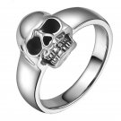 Real 925 Sterling Silver Punk Simple Skull Ring Men Unisex