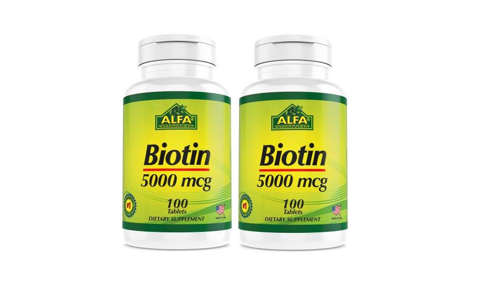 Biotin 5000 mcg , 100 tablets Per Pack (2 packs , 200 tables)