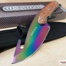 "NEW 9.5"" Rainbow TITANIUM CSGO Hunting Knife Gut Hook w/ Wood Handle Full Tang"