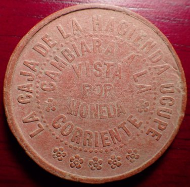 Peru Hacienda Ucupe Leather Token 1 Sol Ca. 1900s