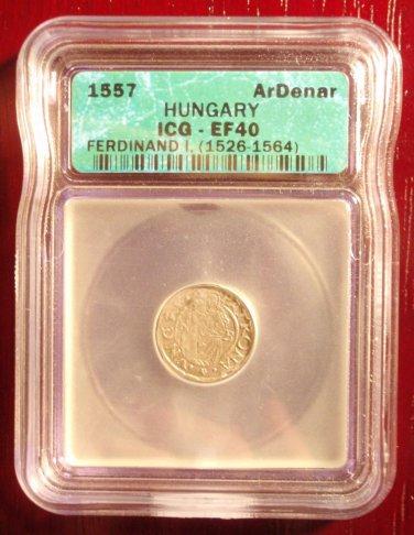 Rare 1557 Hungary Silver Denar Ferdinand I ICG EF40!