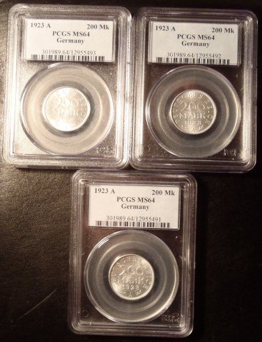 Lot of (3) 1923 A Germany 200 Marks PCGS MS64!