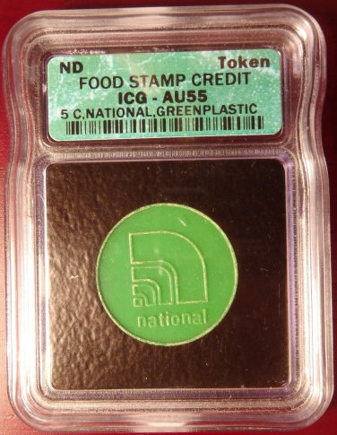 Food Stamp Credit Token 5 C National Green Plastic ICG AU55!
