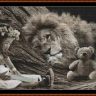 BEDTIME STORY Cross Stitch Pattern [PDF by email] {fantasy lion cat}