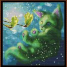 GREEN Cross Stitch Pattern [PDF by email] {fantasy cat}