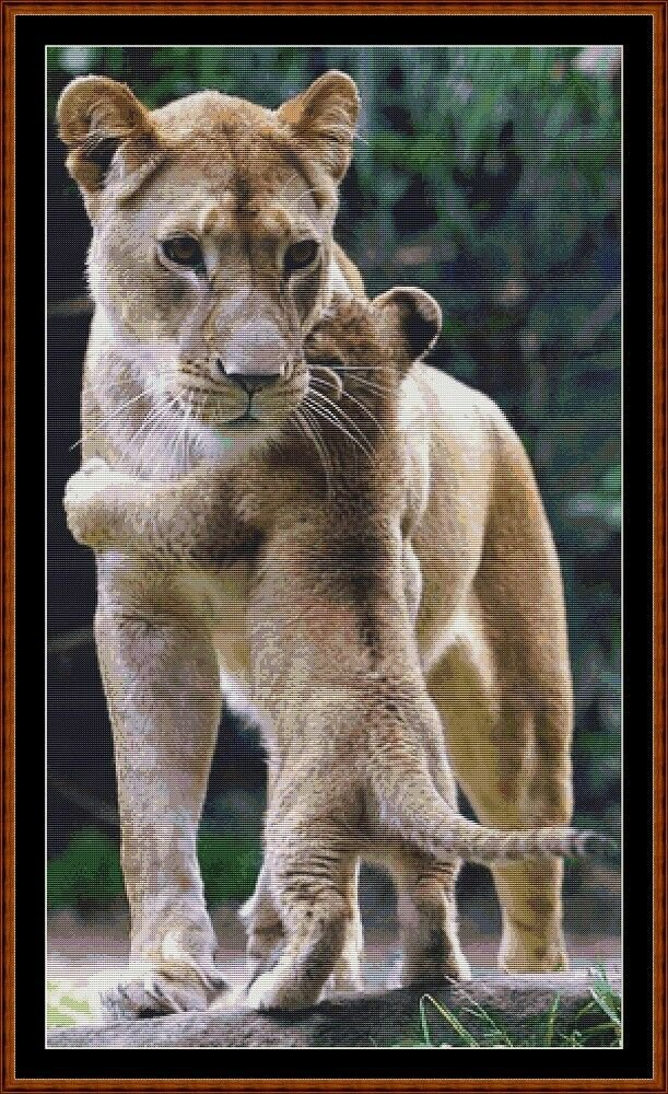 MAMA'S HUG - LION Cross Stitch Pattern [PDF by email] {cat feline baby}