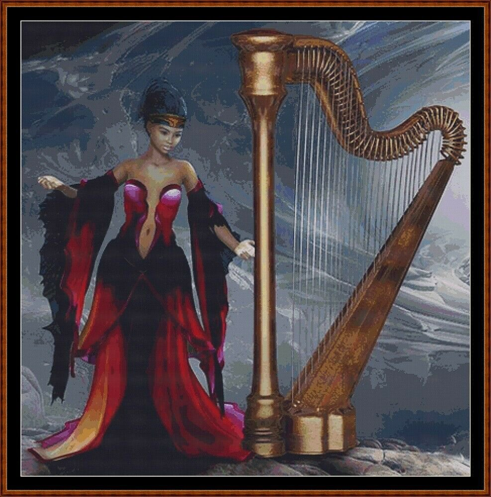 HARP Cross Stitch Pattern [PDF by email] (fantasy lady}